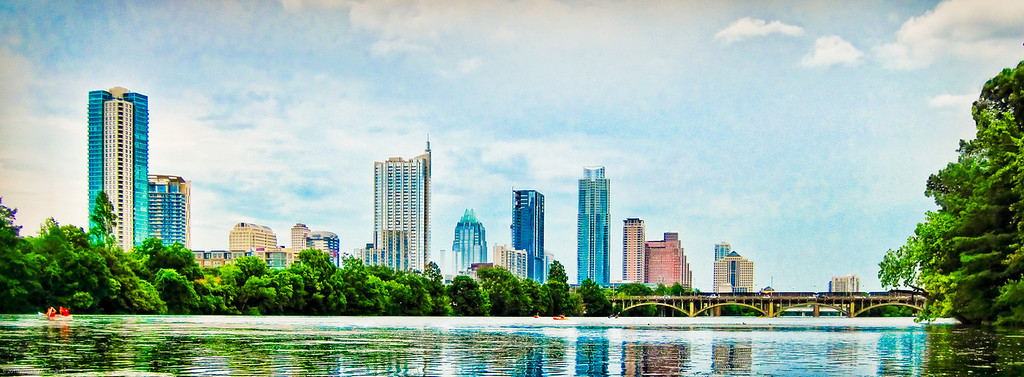 Austin Skyline from Barton Creek.  Got it by taking a kayak with my daughter and floating out to town lake.