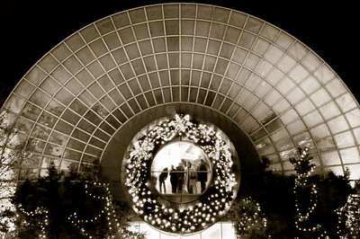 Myriad Gardens in Oklahoma City.  This is what they call the Crystal Bridge.  Every year the gardens both inside the bridge and outside are decorated up very nicely.  This was taken on December, 21st around 10pm.  Temperature about 24 degrees.  I was surprised how well the photo came out, especially with a long 10 second exposure at F/13.  Exposure tweaked in Adobe Lightroom and converted to warm monochrome.  I think I like this one better than the color version.