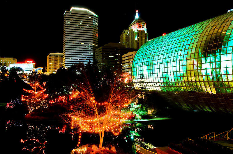 Myriad Botanical Gardens over Christmas, sponsored by OG&E.  View from outside the Crystal Bridge.