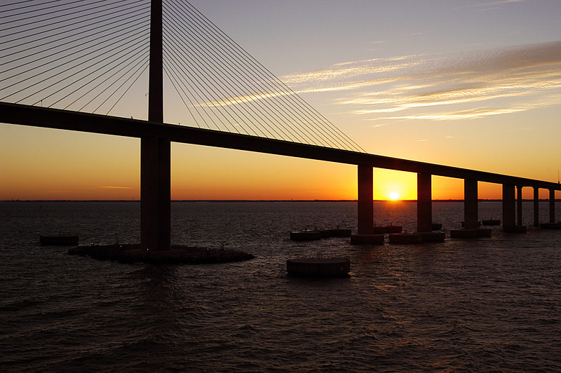 I took this at sunrise as we were returning to Tampa Florida after a wonderful cruise.  This is the Skyway Bridge.
