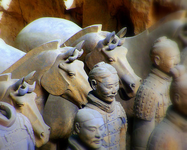 The Terracotta Army was buried with the Emperor Qin (Qin Shi Huangdi) in 210-209 BC