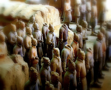 The Terracotta Army was buried with the Emperor Qin (Qin Shi Huangdi) in 210-209 BC .  Please, stand still for this picture.