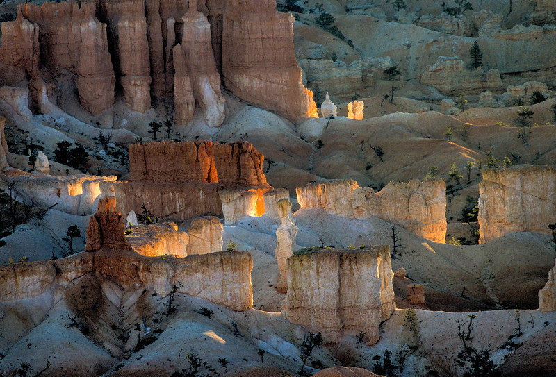Subtle colors in the sandstone of Bryce Canyon.<br /> Photo © Carl Clark