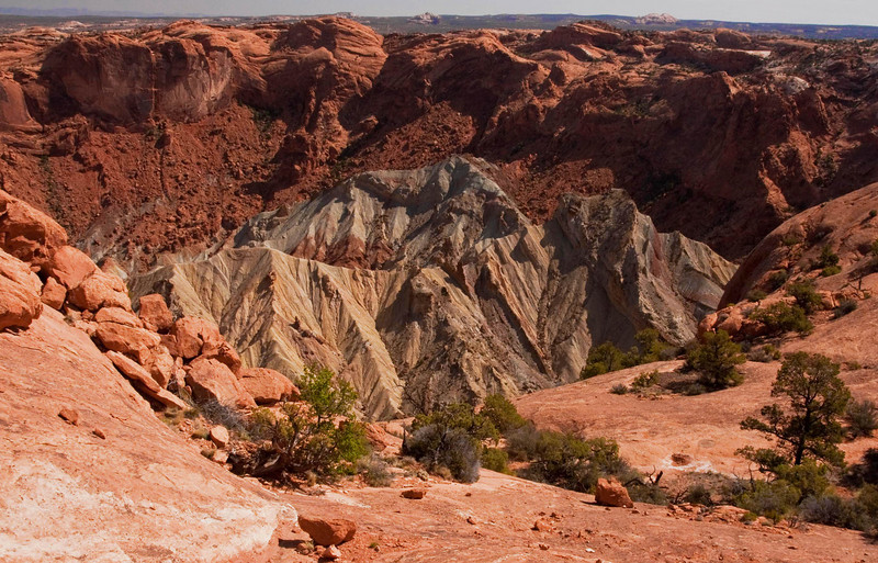 Salt dome or meteorite impact?  Upheaval Dome, Canyonlands.<br /> Photo © Cindy Clark