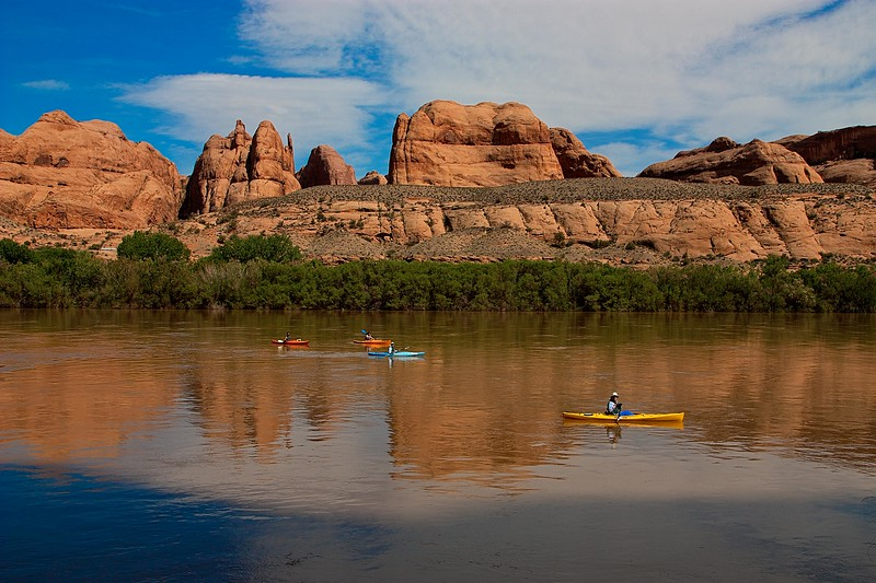 Easy paddling on the Colorado River near Moab.<br /> Photo © Carl Clark