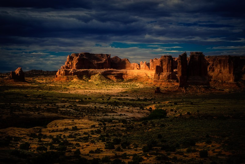 Who would be crazy enough to visit the desert in July?  Guilty!!  This is sunrise at Arches July 2016.<br /> Photo © Cindy Clark