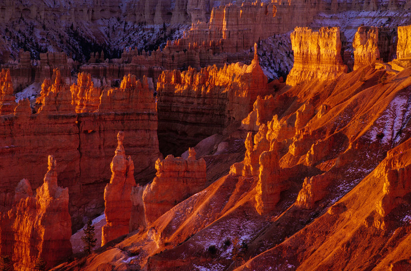 Fire and snow at Bryce Canyon.<br /> Photo © Cindy Clark
