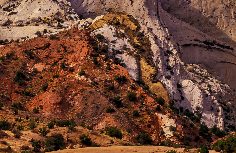 Technicolor layers at Waterpocket Fold.<br /> Photo © Cindy Clark