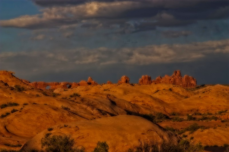 Afternoon color in Arches.<br /> Photo © Carl Clark