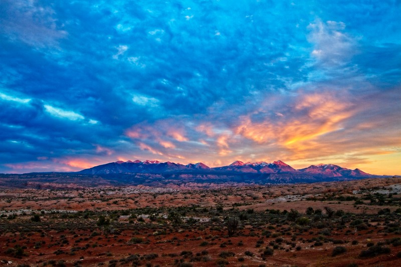 The La Sal mountains set against a typically understated sky.<br /> Photo © Carl Clark