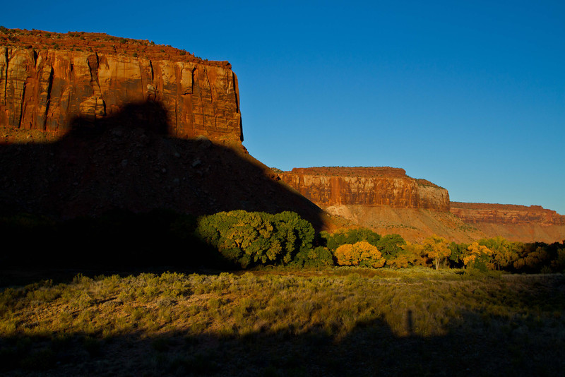 Monring shadows set off the colors of Canyonlands.<br /> Photo © Carl Clark