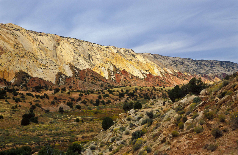 Varied color and form in Waterpocket Fold - Capitol Reef.<br /> Photo © Carl Clark