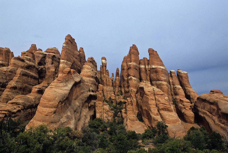 Bunched towers at Fiery Furnace - Arches.<br /> Photo © Carl Clark