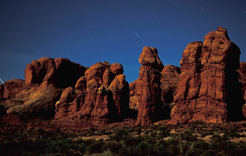 Arches by night - timed exposure.<br /> Photo © Cindy Clark