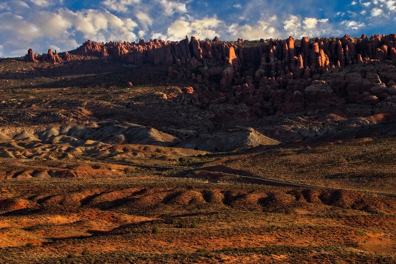 The pinnacles of Fiery Furnace in Arches Nat'l Park.<br /> Photo © Carl Clark