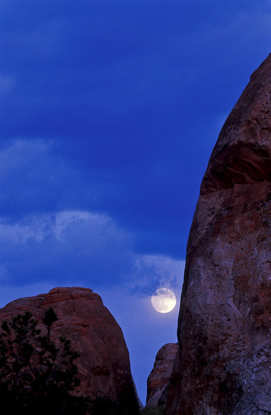 Moonrise at Arches National Park.<br /> Photo © Cindy Clark