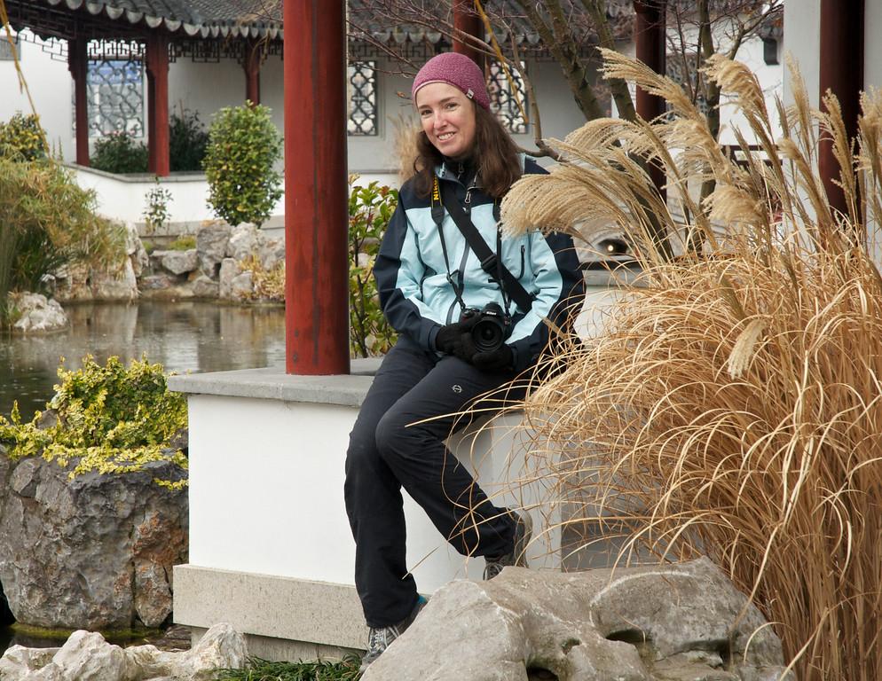 Jane at Chinese Gardens, Dunedin