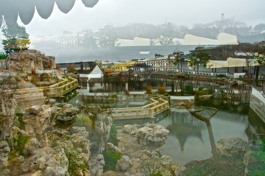 Experimental double exposure, Chinese Gardens, Dunedin