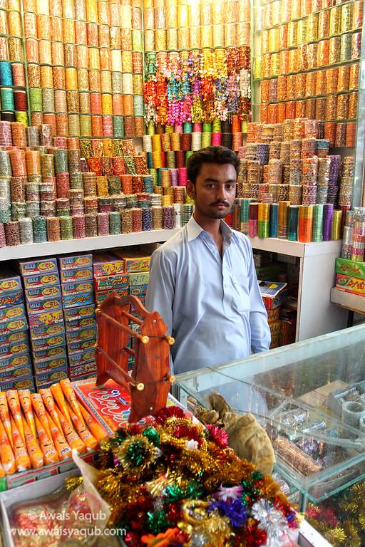 Colorful bangles and hina shop in Multan.