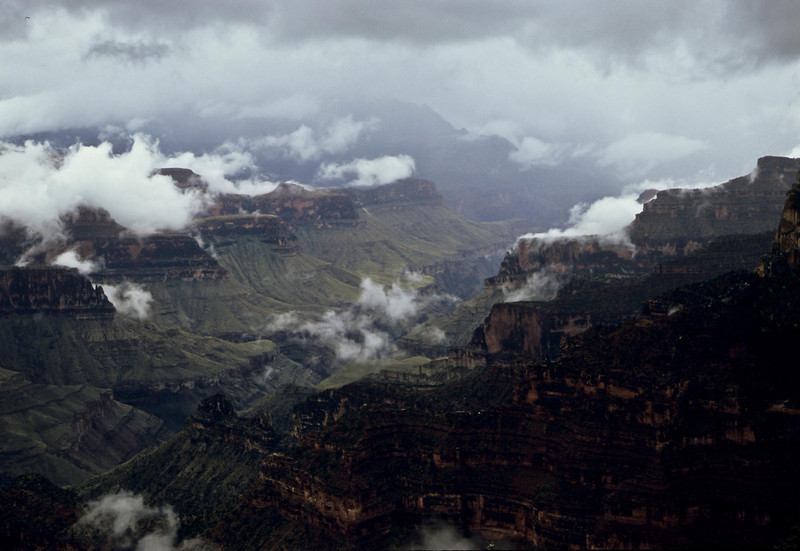 An October storm portends the onset of winter on the North Rim of the Grand Canyon.<br /> Photo © Carl Clark