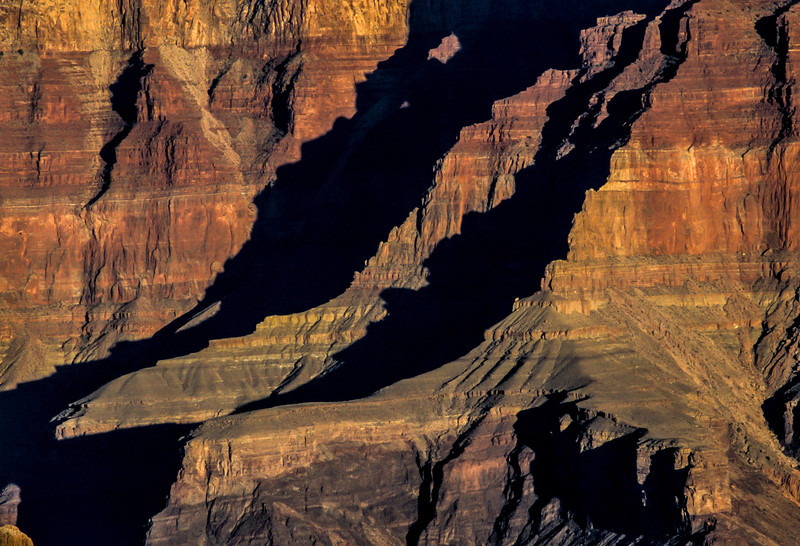 Sharp ridges and steep cliffs in the Grand Canyon.<br /> Photo © Carl Clark