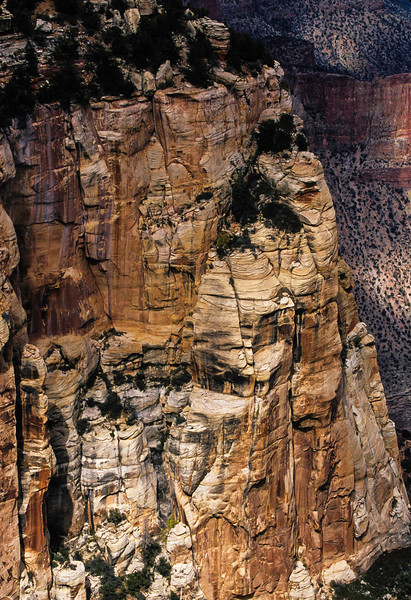 Stone towers seen from the north rim of the Grand Canyon.<br /> Photo © Cindy Clark