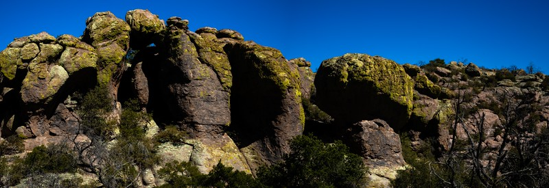 Hiking amongst the rhyolite hoodoos in Chiricahua Nat'l Monument, Arizona.<br /> Photo © Carl Clark