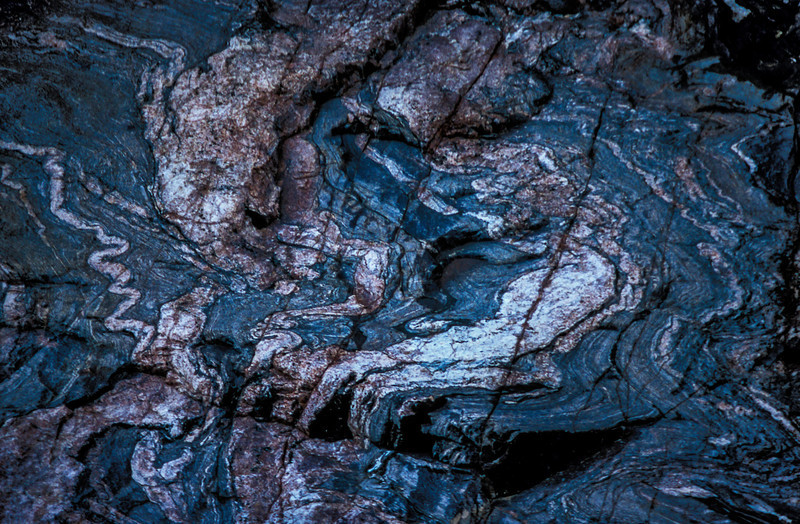 Very, very old bedrock exposed at the bottom of the Grand Canyon.<br /> Photo © Carl Clark