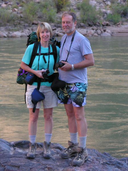 """C&C on the banks of the Colorado River in the Grand Canyon way back in 2005. Our catch phrase for the trip, coined by Cindy, """"All the way to the bottom, Baybee!""""<br /> Photo by Rob Brebner"""