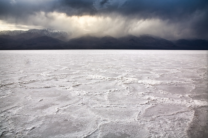 Salt Pan and Storm - Death Valley National Park, California
