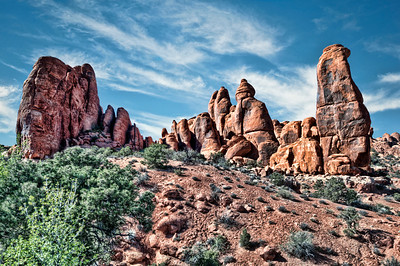 The wall of Rocks at Arches National Park
