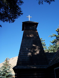 Cross and Steeple on St. John's Chaple, St. John's Episcopal Church, Jackson Hole Wyoming. 8.08.