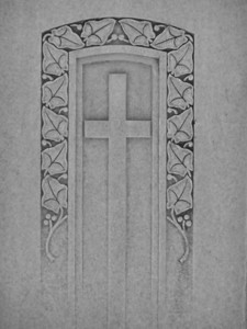 Cross engraved on tombstone, Idaho Falls, ID