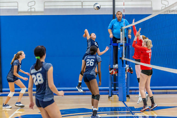 Saugus senior Jackie Ibarra goes up for the kill in a matchup with Taft at Saugus High School Wednesday evening.  Cory Rubin/The Signal