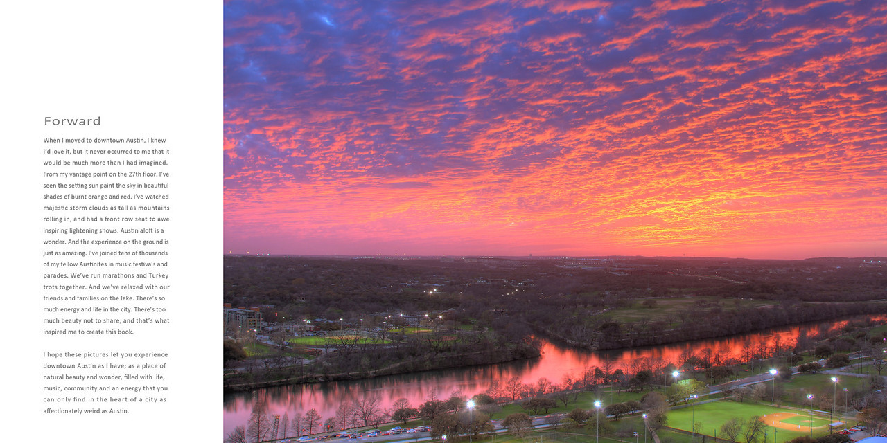 Here is the forward to the book...  The fiery sunset photo taken from the master bedroom balcony.