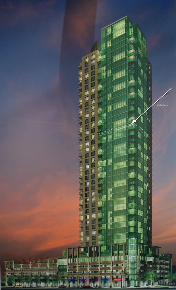 The arrow points to the condo location in the building.  The unit takes up 1/4 of the 27th floor which includes the south (lake view) and east (downtown) sides of the building.