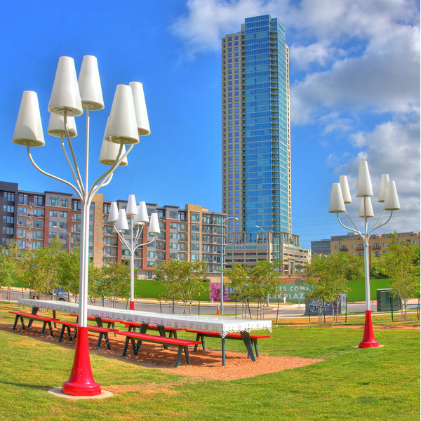 This photo was taken from a park with art installed by the City of Austin Power Plant.   The Gables Park Plaza building is currently being built behind the picnic table so this view is a little dated.  Big things ahead for this park area once the Gables and the Power Plant projects are complete.