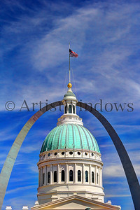 St. Louis Arch and the Old State Courthouse.