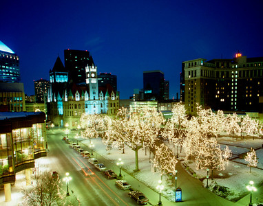 Landmark Center, Ordway Theatre and St. Paul Hotel across the Christmas Lights of Rice Park, St. Paul, Minnesota