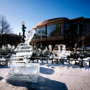 1992 Ice Viola Sculpture and Ordway Theatre, Rice Park, St. Paul, Minnesota