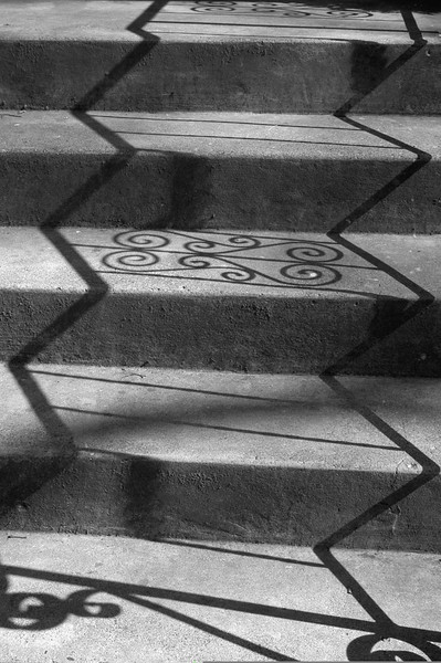 3/2004:   Shadows and steps at Highland Park, Kokomo, IN.  Converted to B & W in Elements 9;  levels adjustment layer applied.