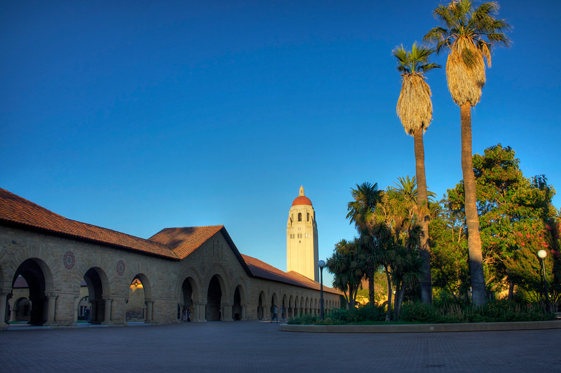 Hoover Tower seen from the Stanford Main Quad at Dusk. Tone Mapped HDR from three exposures.
