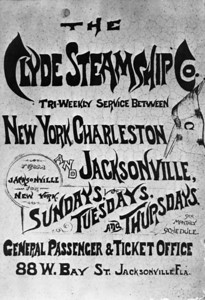 Clyde Steamship Company poster.  The Clyde Steamship Company was established in 1844 by Thomas Clyde, connecting Philadelphia with ports along the east cost, terminating at Jacksonville.  The company was sold to the Bull  Line in 1949.  Clyde Steamship's ticket office was located on the site of the Wells Fargo Tower.