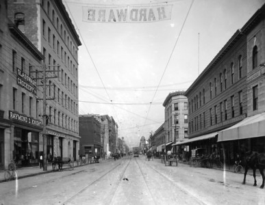 View looking east down Bay Street in 1903.  The Wells Fargo Tower site is the group of buildings in the second block on the left.