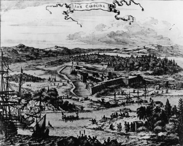 A 1670 lithograph of Fort Caroline.  Fort Caroline was the first French colony in the present-day United States.  Established on the St. Johns River on June 22, 1564, under the leadership of René Goulaine de Laudonnière, it was intended as a refuge for the Huguenots. It lasted one year before being obliterated by the Spanish. The site is now operated as Fort Caroline National Memorial.