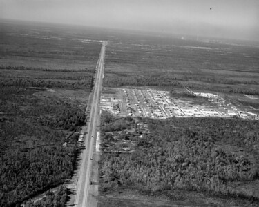 Aerial of Beach Boulevard, looking west toward the intersection with Huffman Boulevard.