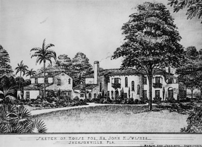 Drawing of the John M. Swisher residence (constructed in 1930) in San Marco at 2252 River Road.