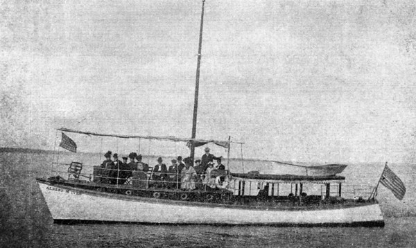"""Yacht """"Albert M. Ives"""" cruising on the St. Johns River in 1907.   A day's outing on beautiful Saint Jonhs River. Yacht leaves foot of Laura Street daily at 10 A.M. stopping at Mandarin, the late home of Harriet  Beecher Stowe, among the beautiful orange groves. Round trip, one Dollar."""