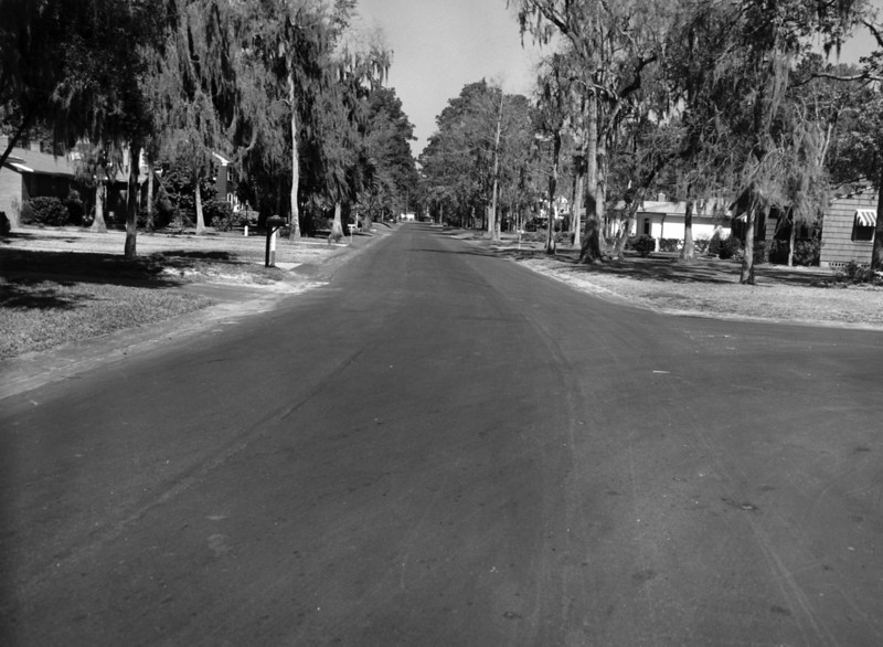 Looking north along Apache towards the intersection with Palmetto (Choctaw) in Ortega Terrace in 1955.