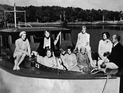 Maiden trip of the Fairform Flyer in the 1928.  The Fairform Flyer was the motorboat of Frank Huckins, who is seated on the right with a pipe in his mouth. Carol Bettes is seated to Frank's right. Katherine Trenholm Hull is seated in the middle and is looking right.  Located on the Ortega River, the Huckins Yacht Corporation assembled PT boasts for the navy during WWII.